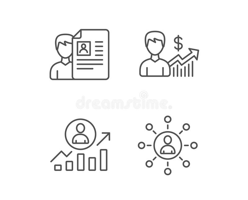 cv business networking and get a job line icons work results and growth chart signs quality design elements editable stroke vector