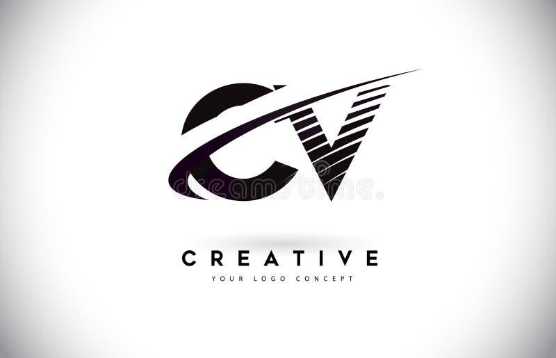 Cv C V Brief Logo Design met Swoosh en Zwarte Lijnen stock illustratie