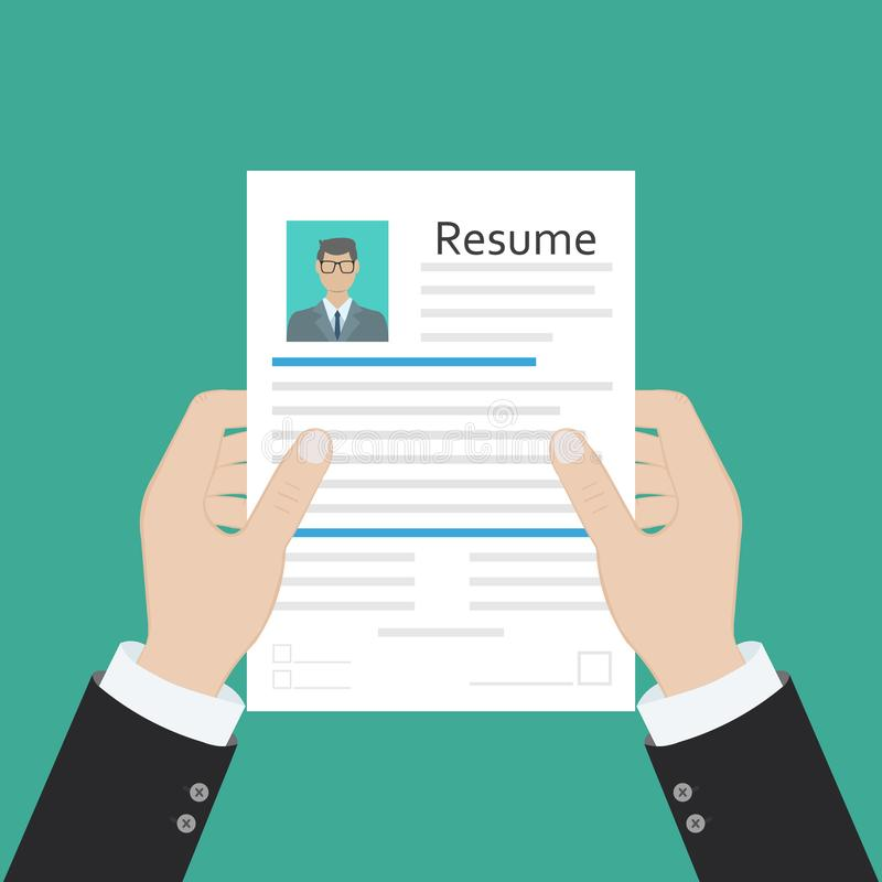 Cv concept resume with photo, documents. Employment recruitment. Searching professional staff. CV application. Selecting staff. stock illustration