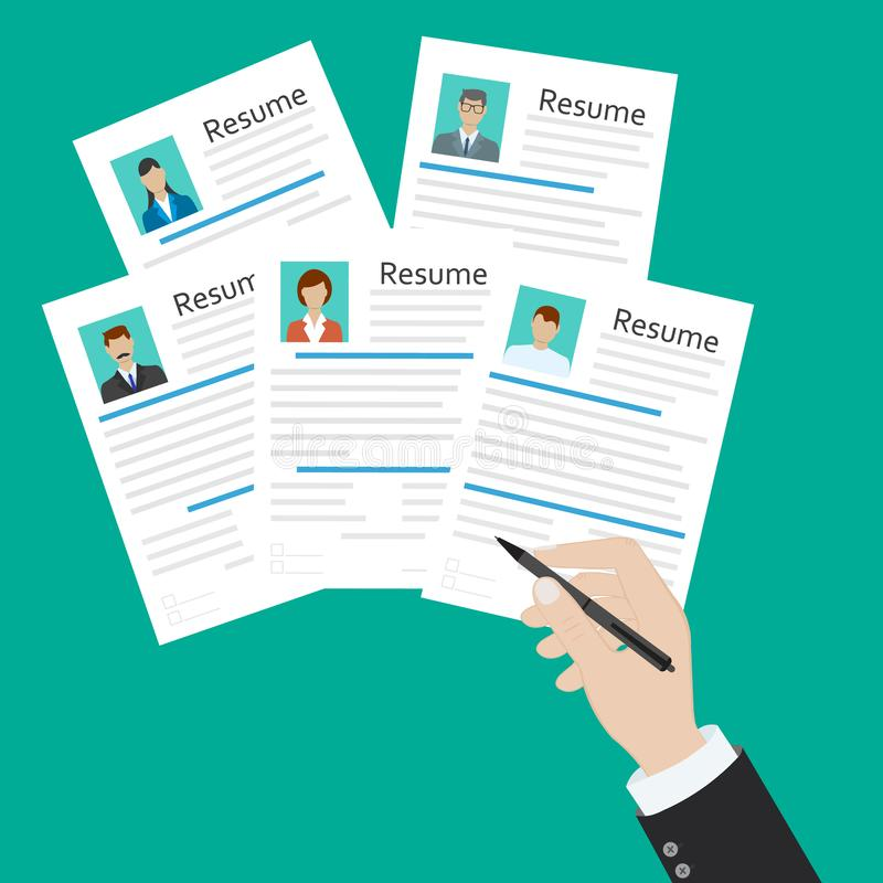 Cv concept resume with photo, documents. Employment recruitment. Searching professional staff. CV application. Selecting staff. Illustration in flat design vector illustration