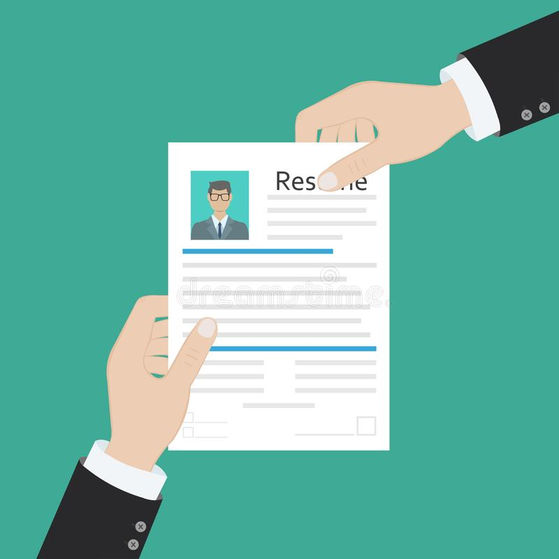 Cv concept resume with photo, documents. Employment recruitment. Searching professional staff. CV application. Selecting staff. Illustration in flat design stock illustration