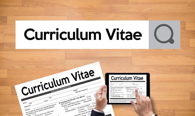 CV - Curriculum vitae (conceito da entrevista de trabalho com o CV do negócio com referência a imagem de stock