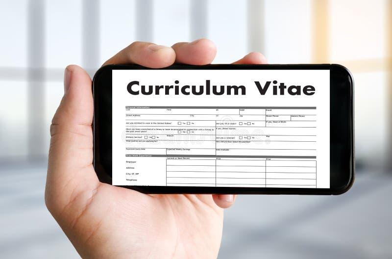 CV - Curriculum vitae (conceito da entrevista de trabalho com o CV do negócio com referência a foto de stock