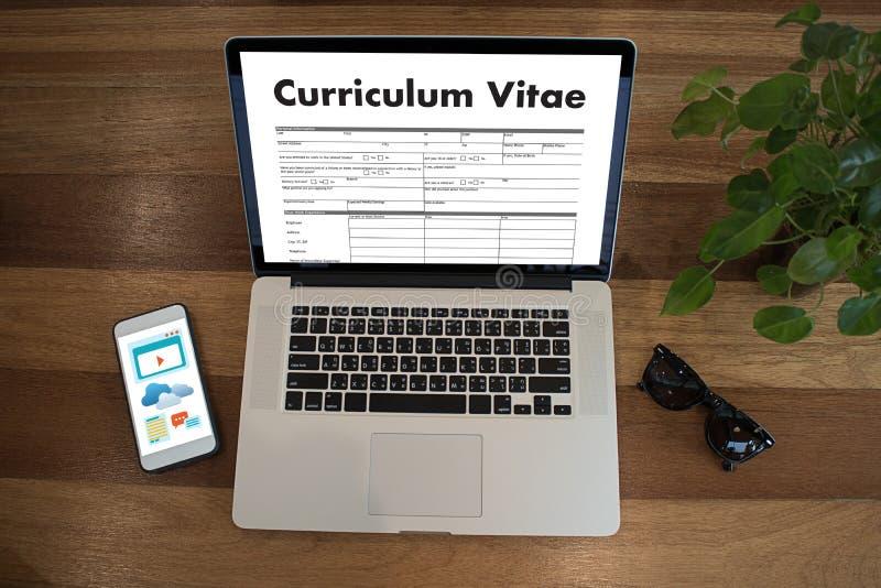 CV - Curriculum vitae (conceito da entrevista de trabalho com o CV do negócio com referência a imagens de stock royalty free