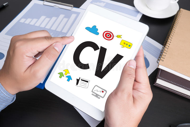 CV - Curriculum Vitae (Job interview concept with business CV r. Esume royalty free stock photos