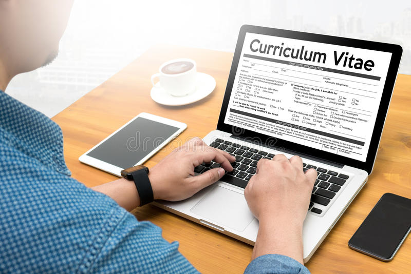 CV - Curriculum Vitae (Job interview concept with business CV. Resume) , BUSINESS OFFICE BUSINESSMAN WORKING application job stock photo
