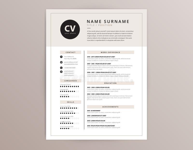 CV/curriculum vitae y plantilla de la carta de presentación - vector elegante elegante d stock de ilustración