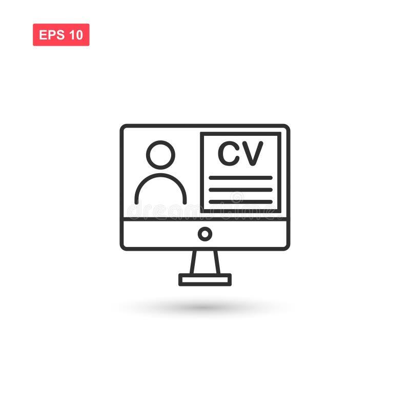 Cv de résumé avec le vecteur d'icône de moniteur a isolé 2 illustration de vecteur