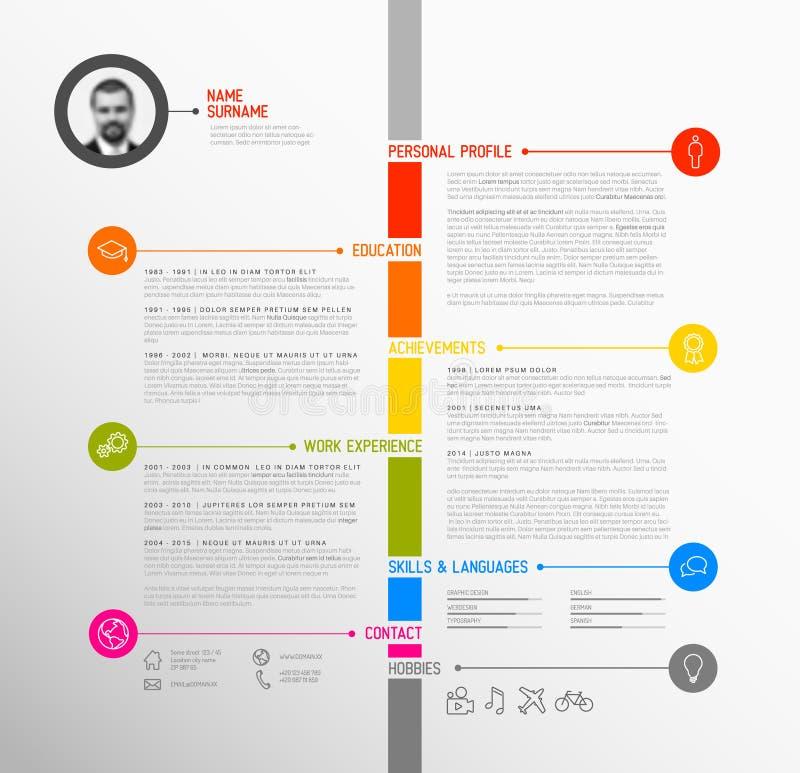 Cv del minimalist de la cronología del vector/plantilla del curriculum vitae ilustración del vector