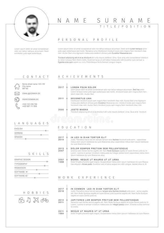 Cv del minimalist del vector/plantilla del curriculum vitae libre illustration