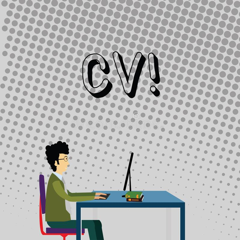 Cv del texto de la escritura El concepto que significa curriculum vitae reanuda el trabajo de Infographics que busca al hombre de stock de ilustración