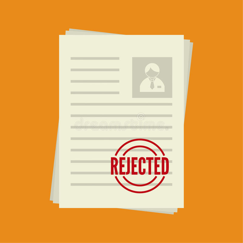 Cv denial. resume, personal file royalty free illustration
