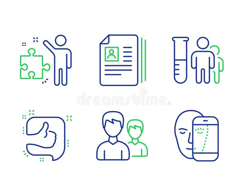 Cv documents, Like and Strategy icons set. Medical analyzes, Couple and Face biometrics signs. Vector. Cv documents, Like and Strategy line icons set. Medical vector illustration