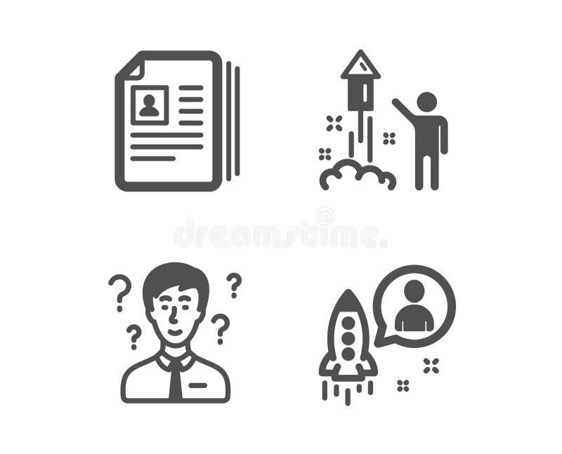 Cv dokumenty, poparcie konsultant i fajerwerk ikony, Rozpocz?cie znak wektor ilustracja wektor