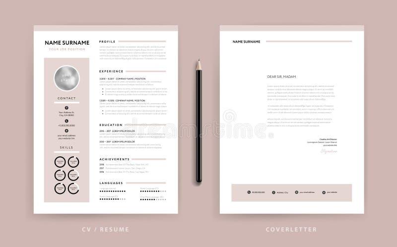 CV elegante/resumo e molde da carta de apresentação - rosa cor-de-rosa empoeirado ilustração royalty free