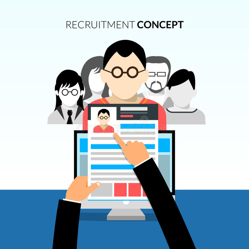 CV flat concept. Recruiment flat concept with recruiter holding cv and candidates on background vector illustration royalty free illustration