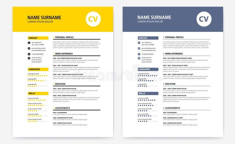 Cv/hervat geel en de donkerblauwe vorm van het ontwerpmalplaatje - royalty-vrije illustratie