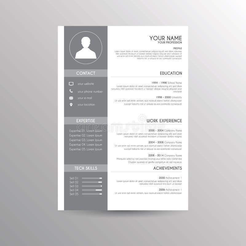 Cv/hervat malplaatje stock illustratie