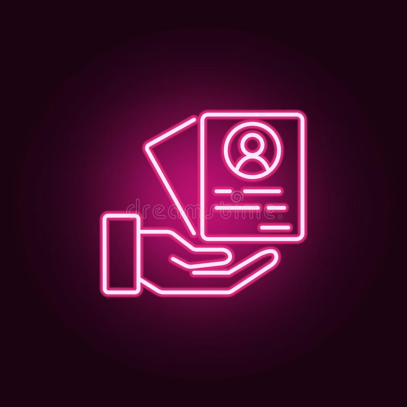 CV icon. Elements of interview in neon style icons. Simple icon for websites, web design, mobile app, info graphics stock illustration