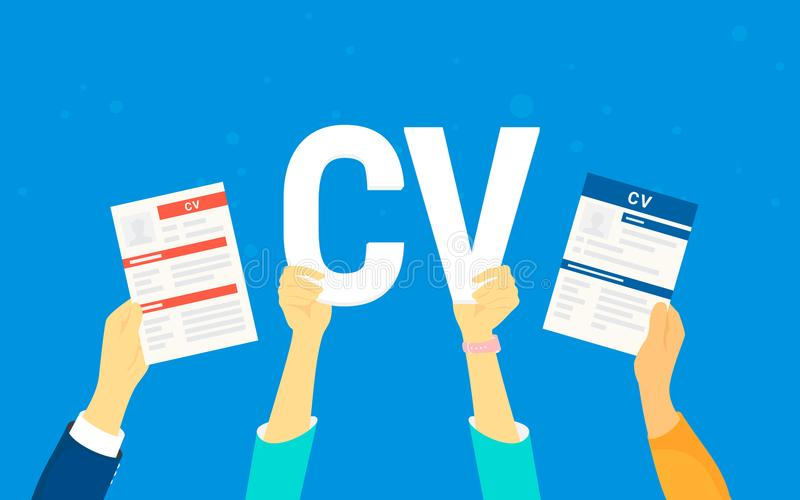 CV letters concept vector illustration of business people searching job and hiring vector illustration