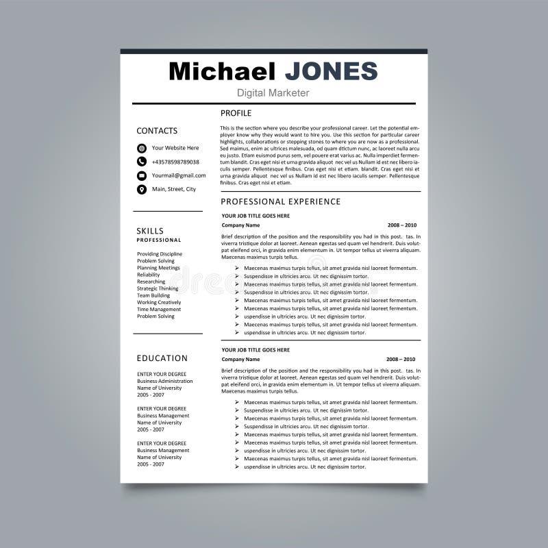 CV lub życiorysu szablon - elegancki elegancki projekt royalty ilustracja