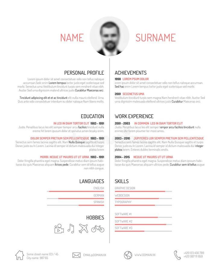 CV-/meritförteckningmall royaltyfri illustrationer