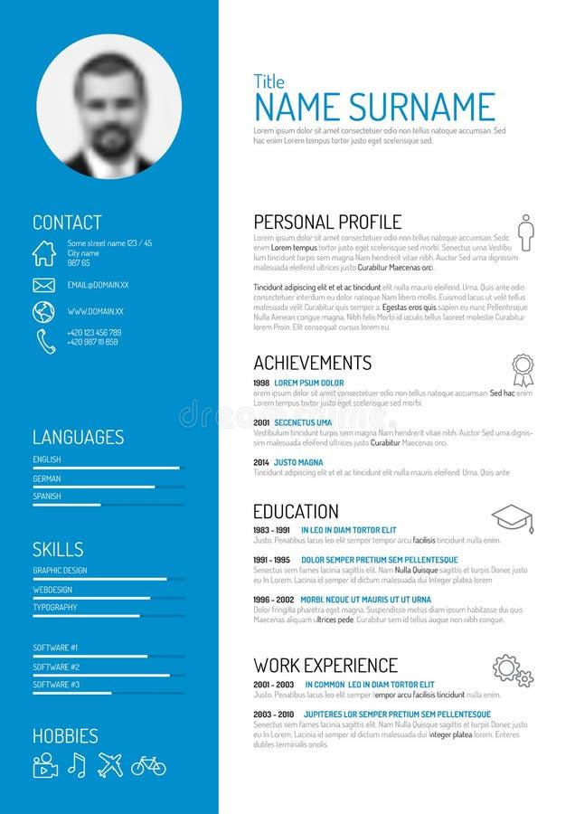 CV-/meritförteckningmall stock illustrationer