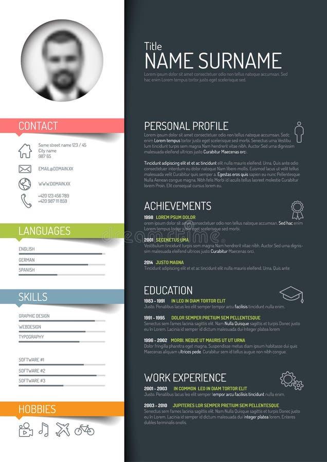 CV-/meritförteckningmall vektor illustrationer