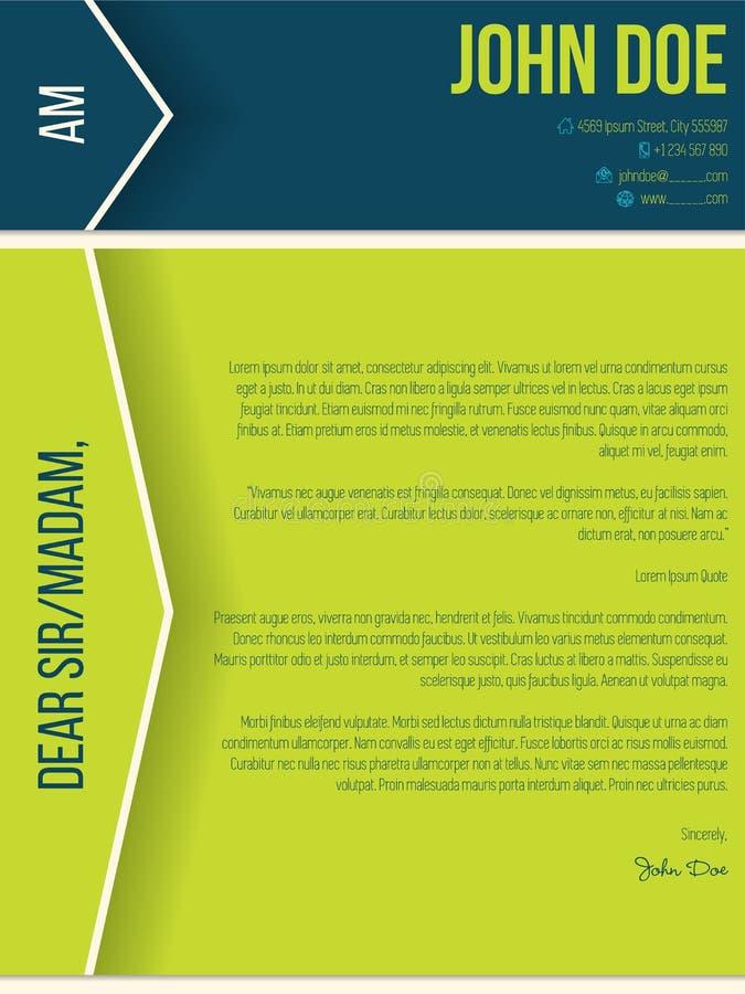 Cv moderne de résumé de lettre d'accompagnement avec des flèches et des ombres illustration libre de droits