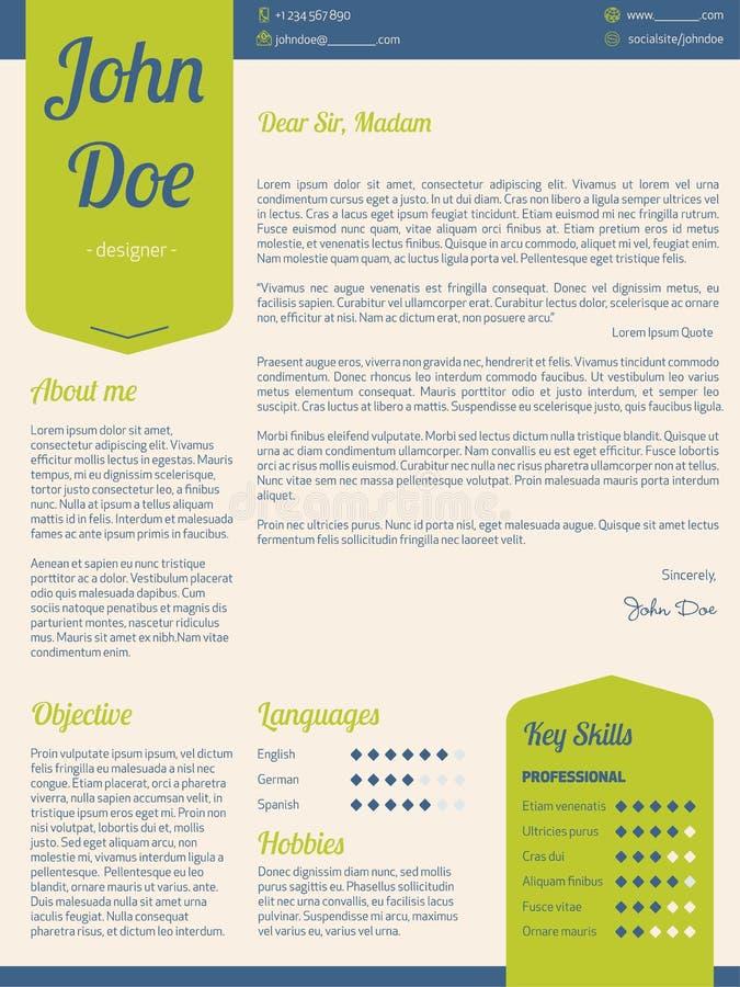 Cv moderne de résumé de lettre d'accompagnement avec les rubans verts illustration libre de droits