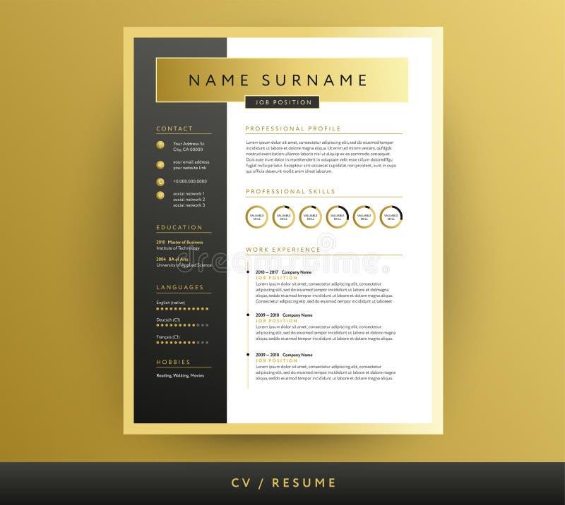 CV/molde profissionais do resumo em cores do preto e do ouro - vec ilustração stock