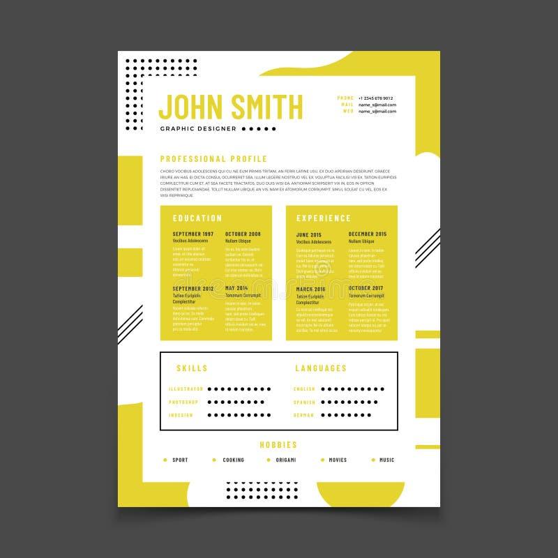 Cv-ontwerp Professioneel hervat met bedrijfsdetails Het leerplan en de beste baan hervatten vector infographic model stock illustratie