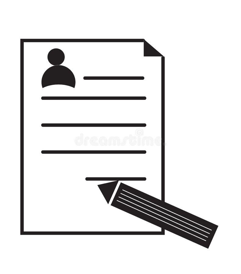 Cv-pictogram op witte achtergrond Vlak stijlontwerp stock illustratie