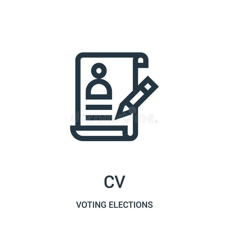 cv-pictogramvector van het stemmen van verkiezingen over inzameling Dunne het pictogram vectorillustratie van het lijncv overzich vector illustratie