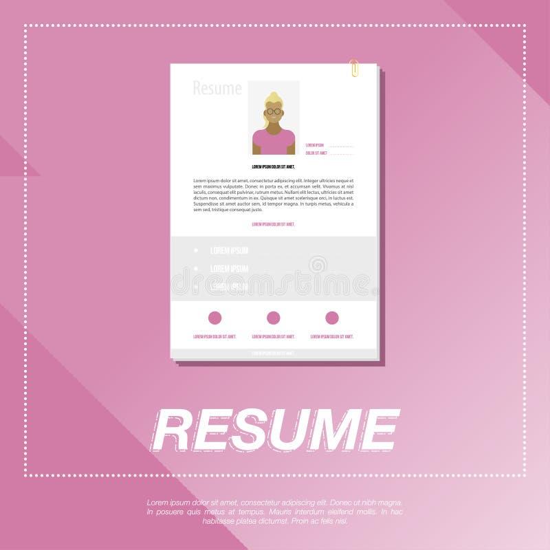 CV, plantilla del curriculum vitae para una muchacha stock de ilustración