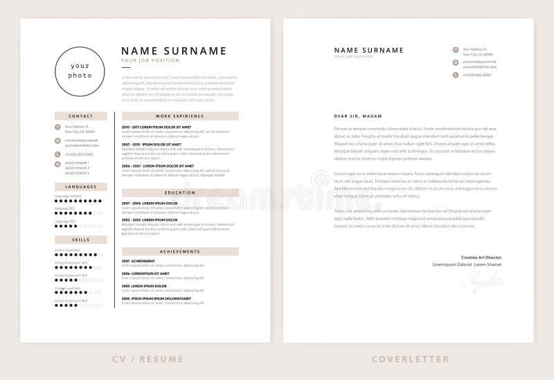 Cv/résumé et calibre de lettre d'accompagnement - élégant élégant illustration libre de droits