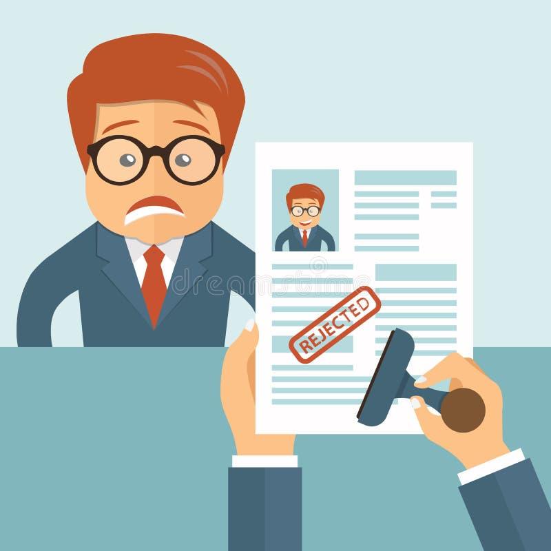 CV rechazado Hombre y curriculum vitae tristes en manos Reclutando, empleo, recursos humanos, concepto de la gestión del equipo ilustración del vector