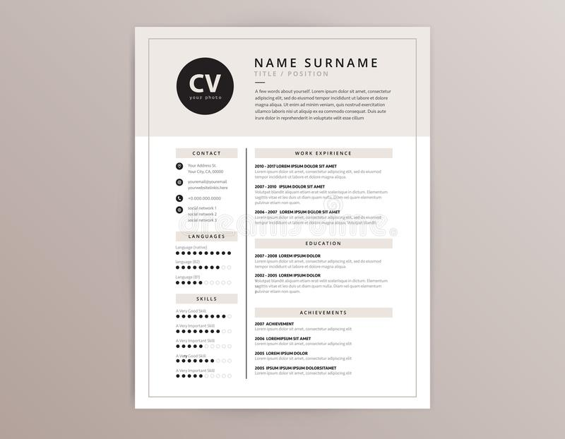 CV Resume Template Elegant Stylish Vector Design Stock Vector