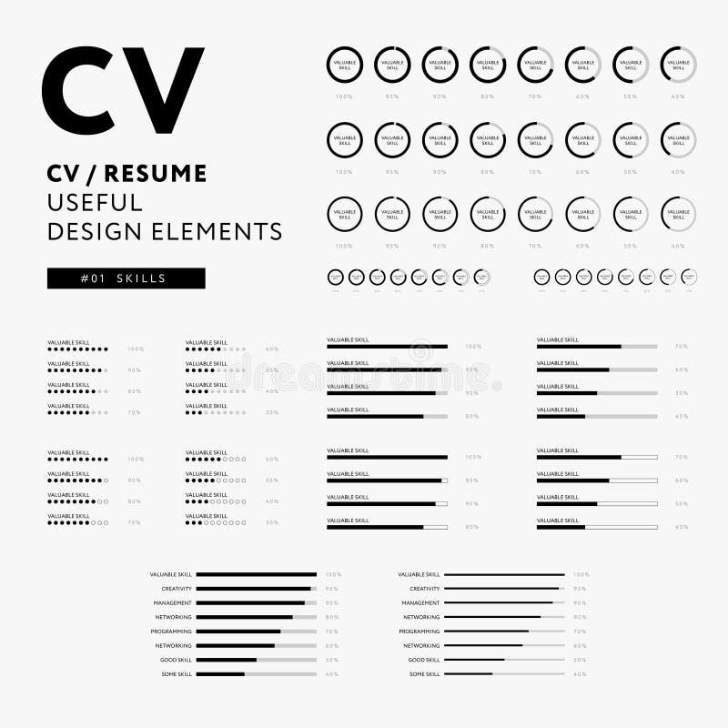 Curriculum vitae useful design elements set - Skills icons. Curriculum vitae useful design elements set - CV / Resume design elements - Skills icons set vector illustration
