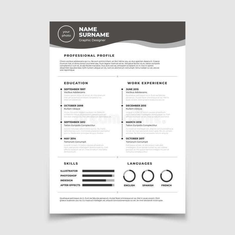 Cv resume. Document for employment interview. Vector business design template royalty free illustration