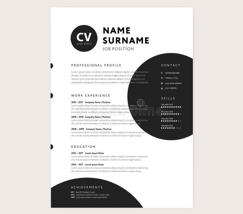 CV / resume template - creative stylish curriculum vitae design. Vector - minimal style geometric circle shapes royalty free illustration