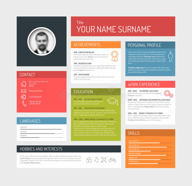 Cv / resume template dashboard royalty free illustration