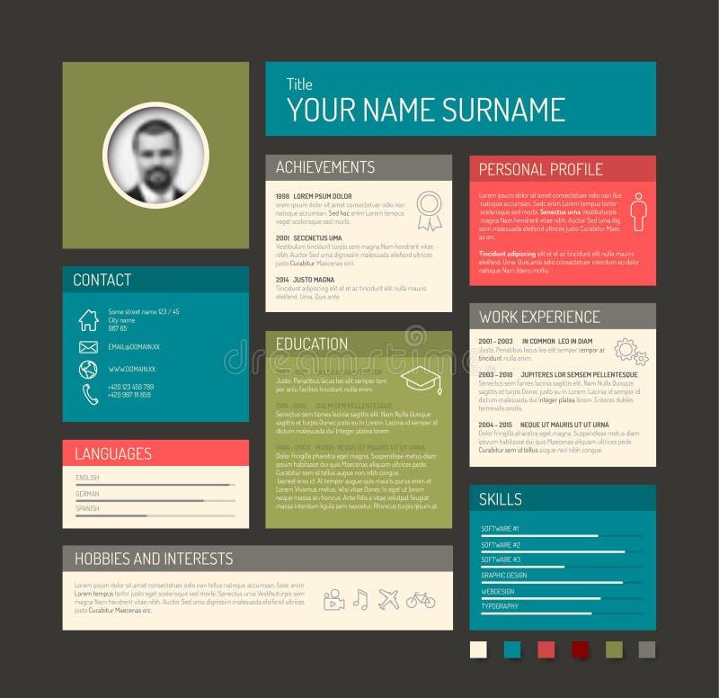 cv    resume template dashboard stock vector
