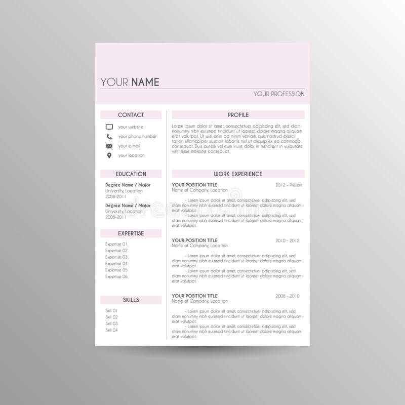 CV / Resume template. For job applications stock illustration