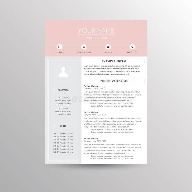 CV / Resume template. For job applications royalty free illustration