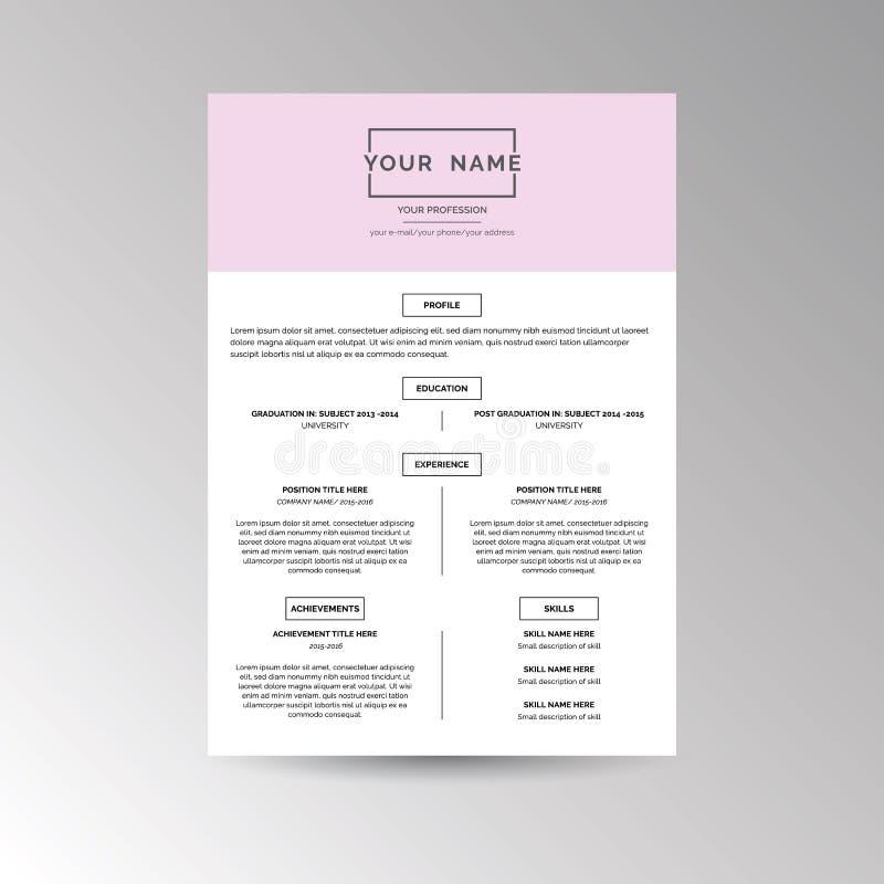 CV / Resume template. For job applications vector illustration