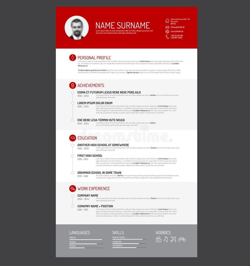 Cv / resume template. Vector minimalist cv / resume template stock illustration