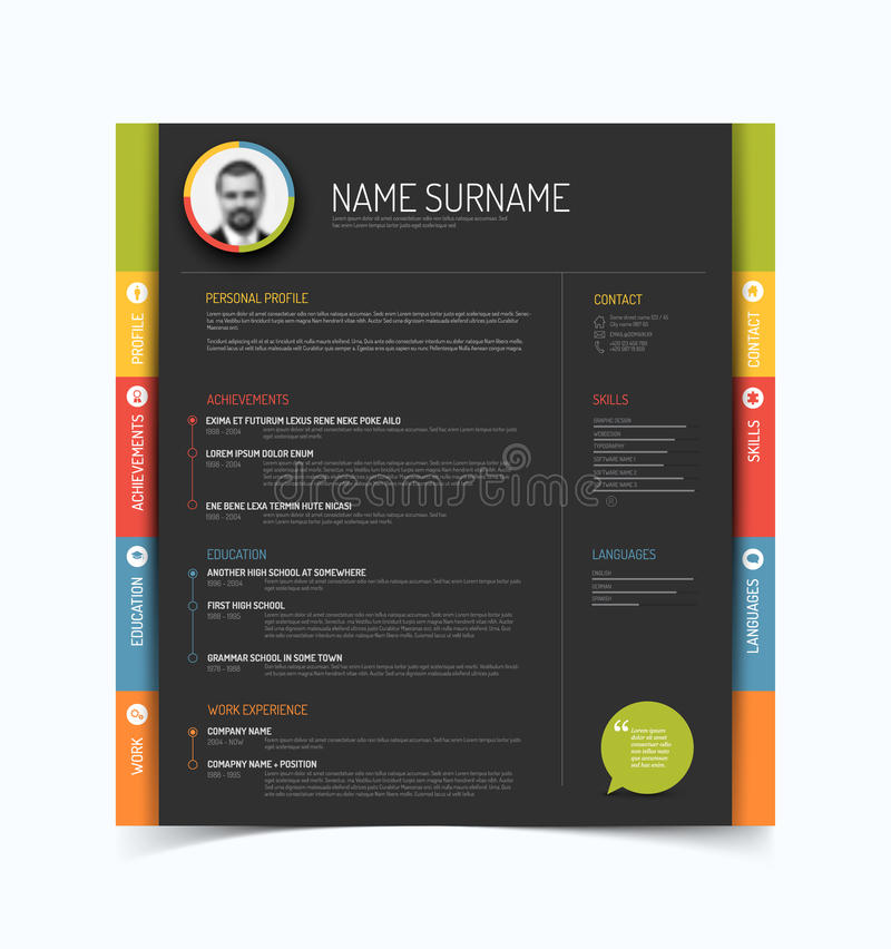 Cv resume template stock vector Illustration of header 52731440