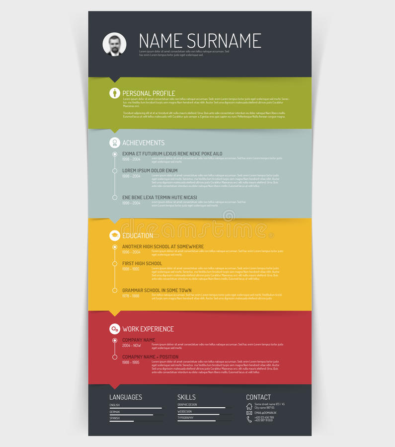 Cv / resume template. Vector minimalist cv / resume template with colorful sections and simple line icons vector illustration