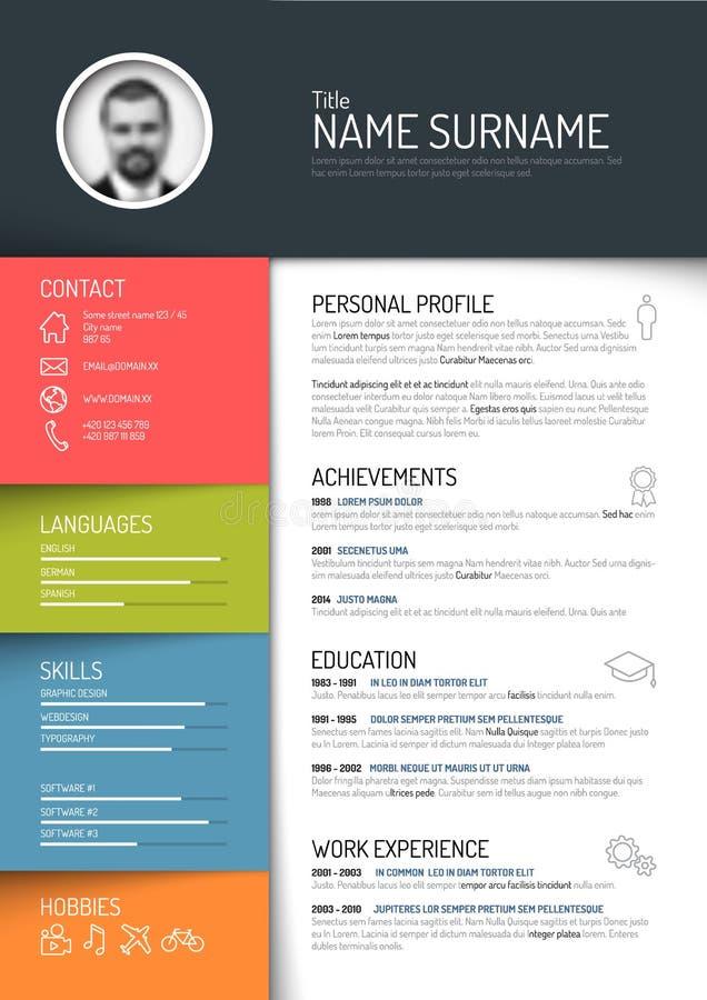 Cv / resume template. Vector minimalist cv / resume template - dark color version vector illustration